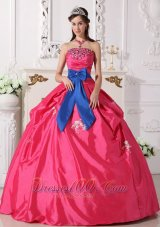 Hot Pink Strapless Quinceanera Dress Bowknot Embroidery