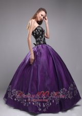 Elegant Purple and Black Sweet 16 Dress Embroidery
