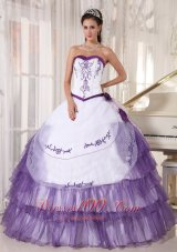 White and Purple Quinceanera Dress 2013 Embroidery