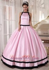 Baby Pink and Black Bateau Ball Gown for Quinceanera