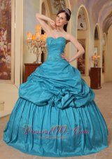 Discount Sweetheart Teal Pick-ups Quinceanera Dress
