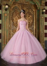 Sweet 15 Dress A-line Pink Ball Gown Strapless