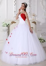 White and Red Sweet 15 Dress Hand Made Flower Sweetheart