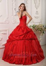 Sweetheart Floor-length Pick-ups Quinceanera Dress Red