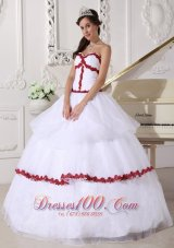 White and Red Quinceanera Dress Layer Gown