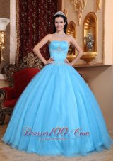 Strapless Aqua Blue Quinceanera Dress Beading
