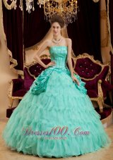 Apple Green Quinceanera Dress Strapless Ruffles Taffeta