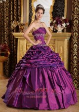 Purple Quinceanera Dress Strapless Pick-ups Taffeta