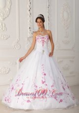 White Quinceanera Dress Strapless Satin Organza Embroidery