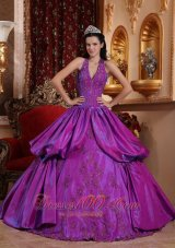 Purple Simple Dresss for Quinceanera Halter Taffeta Appliques