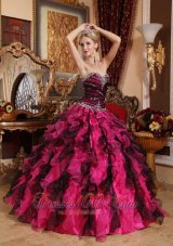 Multi-color Sweetheart Quinceanera Dress Beading with Ruffles
