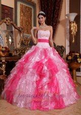Pink Organza Beading and Ruch Sweet 15 Dress