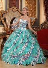 Sweetheart Organza Printing Colorized Quinceanera Dress