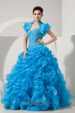 Organza Beading Sky Blue Quinceanera Dress with Jacket