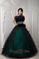 Beading and Feather Black Tulle Quinceanera Dress