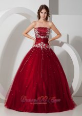 Wine Red Quinceanera Dress Strapless Satin and Tulle