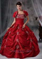 Red 16 Dresses Strapless Taffeta Appliques With Jacket