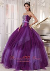 Elegant 2013 Purple Quinceanera Dress Tulle Beading
