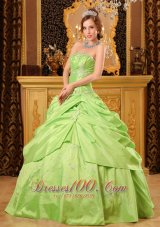 Unique Beading Spring Green Taffeta Quinceanera Dress