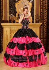 Black and Hot Pink Taffeta Beading Dress for Quinceaneras