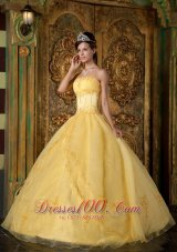 Yellow Appliqued Strapless Floor-length Organza Quinceanera Dress