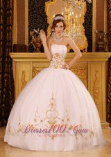 Satin and Organza White Appliques Dresses for Quinceaneras