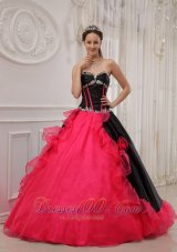 Red and Black Sweetheart Satin and Organza Quinceanera Dress