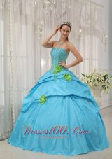 Taffeta Beading and Hand Flowers Baby Blue Quinceanera Dress