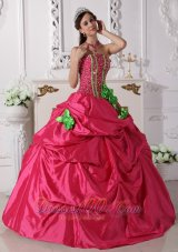 Beading and Flowers Hot Pink Taffeta Quinceanera Dress