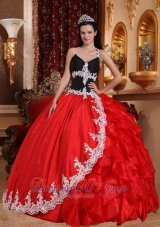 Red and Black V-neck Taffeta and Organza Appliques Dress for 16