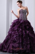 Organza Dark Purple Princess Beading and Ruffles Quinceanea Dress