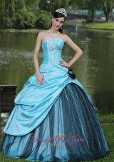 Beaded Aqua Blue Taffeta 2013 Quinceanera Dress On Sale