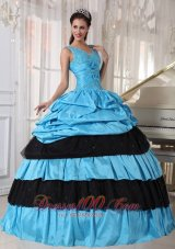 V-neck Light Blue and Black Quinceanera Dress Taffeta Beading