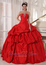 Ball Gown Red Taffeta Quinceanera Dress With Beading