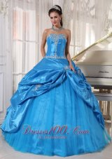 Appliques Taffeta and Tulle Blue Cheap Quinceanera Dress