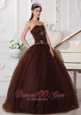 Rhinestones Chocolate Quinceanera Dress Tulle Plus Size