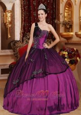 Purple One Shoulder Quinceanera Dress Beading and Appliques