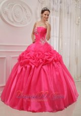 Plus Size Hot Pink Quinceanera Dress Organza Ruch and Beading