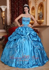 Blue Dresses for 15 Taffeta Embroidery with Beading