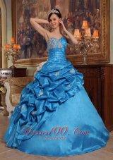 Beading Taffeta Blue Ball Gown Quinceanera Dress