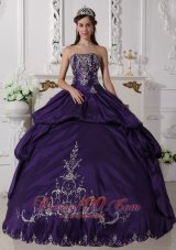 Ball Gown Taffeta Embroidery Purple Quinceanera Dress