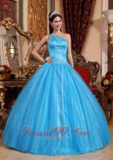 One Shoulder Blue Quinceanera Dress Tulle and Taffeta Beading