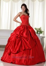 Taffeta Red Sweetheart Embroidery Quinceanera Dress