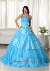 Taffeta Off the Shoulder Aqua Blue Embroidery Quinceanera Dress