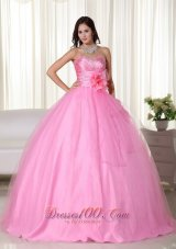 Pink Gown Tulle Beading Quinceanera Dress Handmade Flowers