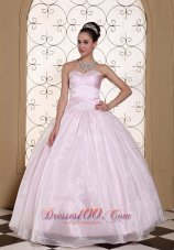 Baby Pink Organza Quinceanera Dress Beaded Decorate