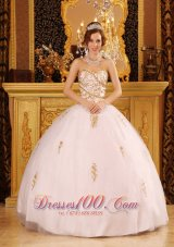 Ball Gown White Sweet 15 Dresses Organza Appliques
