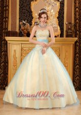 A-line Beading Satin and Organza ChampagneSweet 16 Dresses