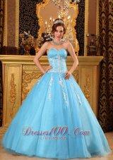Aqua Blue Sweetheart Sweet 16 Dresses Tulle Appliques