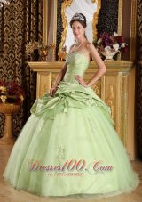 Beaded Tulle and Taffeta Yellow Green Quinceanera Dress